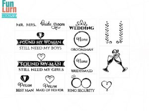 Wedding SVG,Mr., Mrs. , invite, Groomsman , Bridesmaid,Best Man,Maid of Honor,Bride ,Groom, Ring security, svg dxf png eps files