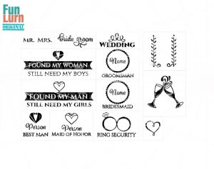 Wedding SVG,Mr., Mrs. , invite, Groomsman , Bridesmaid,Best Man,Maid of Honor,Bride ,Groom, Ring security, svg dxf png eps files