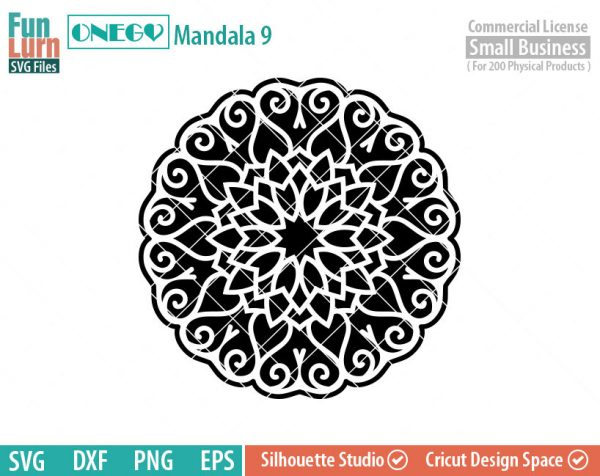 Mandala Decal Design, Mandala, 9, SVG File, ONEGO, Cricut Design, Mandala Pattern, zentangle, svg,eps,dxf, png , cutting files