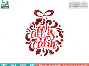 All is calm svg, Ornament, Christmas SVG, Glass block, Ornament design,leaf, leaves, swirl, dxf, eps png for silhouette cameo, cricut air