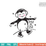 Baby its cold SVG, cute penguin, Ice skating, Snow, Winter woodland creatures, sweater, ear muffs, snowflakes SVG DXF eps png