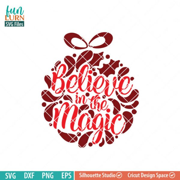 Believe in the magic svg, Glass Block Ornament, Christmas SVG, leaf, leaves, swirl, dxf, eps png for silhouette cameo, cricut air etc