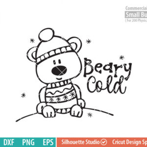 Cute Bear svg, Beary Cold SVG, Polar Bear svg, Sweater, Cap , snow, Winter woodland creatures, snowflakes SVG DXF eps png