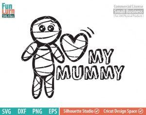 Cute Halloween SVG, Cute Mummy SVG, Love my Mummy, Baby boy, boy Mummy, Halloween svg, dxf, png, eps for silhouette, Cricut
