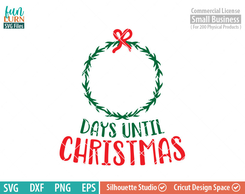 days until christmas svg wreath funlurn svg - How Many Days Are There Until Christmas