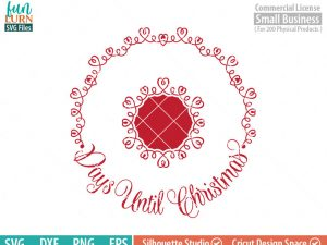 Days until Christmas svg, Luxury, Circular Charger Plate,  Christmas Advent, Christmas SVG,  svg png dxf eps for Cameo, Cricut Air etc