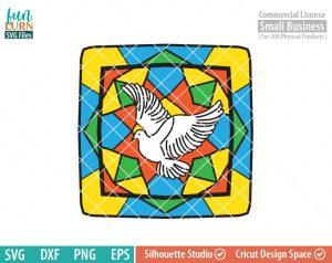 Dove, Seven Sacraments, transparent vinyl, glass block design, stained glass design, Christmas, Christian SVG dxf, eps png