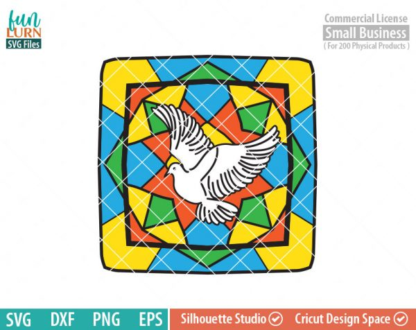 Dove, Seven Sacraments, transparent vinyl, glass block design, stained glass design, Christmas, Christian SVG dxf, eps png