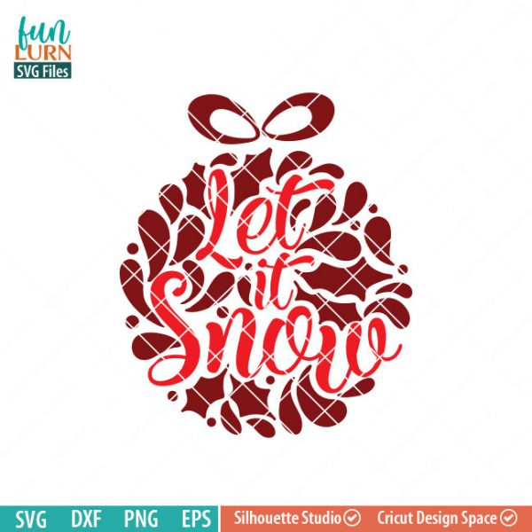 Let it snow svg, Glass Block Ornament, Christmas SVG, leaf, leaves, swirl, dxf, eps png for silhouette cameo, cricut air etc