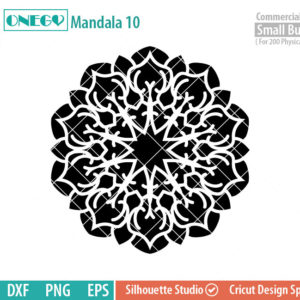 Mandala Decal Design, Mandala, 10, SVG File, ONEGO,  Cricut Design, Mandala Pattern, zentangle, svg,eps,dxf, png , cutting files