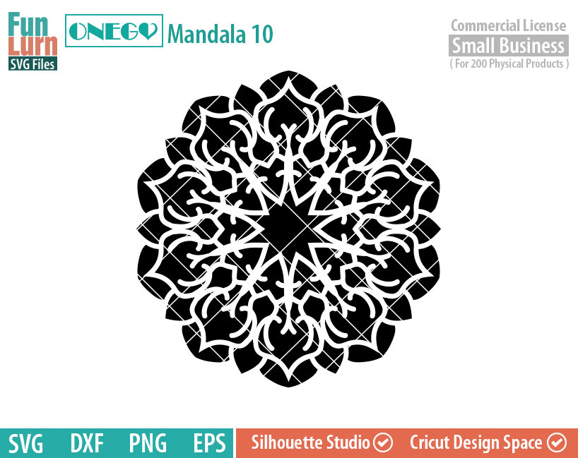 Mandala Decal Design, Mandala, 10, SVG File, ONEGO, Cricut Design,