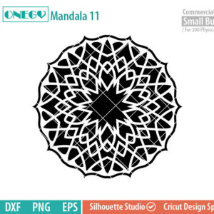 Mandala Decal Design, Mandala, 11, SVG File, ONEGO,  Cricut Design, Mandala Pattern, zentangle, svg,eps,dxf, png , cutting files