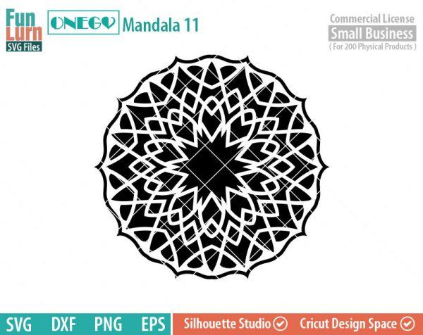 Mandala Decal Design, Mandala, 11, SVG File, ONEGO, Cricut Design, Mandala Pattern, zentangle, svg,eps,dxf, png , cutting files