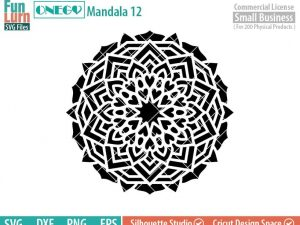 Mandala Decal Design, Mandala, 12, SVG File, ONEGO, Cricut Design, Mandala Pattern, zentangle, svg,eps,dxf, png , cutting files