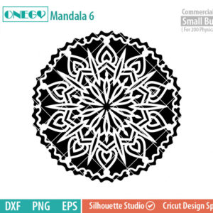 Mandala Decal Design, Mandala, 6, SVG File, ONEGO,  Cricut Design, Mandala Pattern, zentangle, svg,eps,dxf, png , cutting files