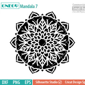 Mandala Decal Design, Mandala, 7, SVG File, ONEGO,  Cricut Design, Mandala Pattern, zentangle, svg,eps,dxf, png , cutting files
