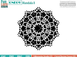 Mandala Decal Design, Mandala, 8, SVG File, ONEGO,  Cricut Design, Mandala Pattern, zentangle, svg,eps,dxf, png , cutting files