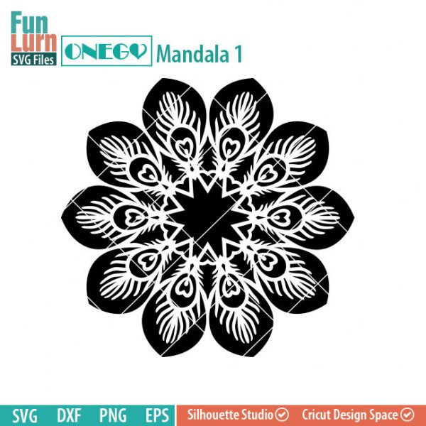 Mandala Decal Design, Mandala, SVG File, ONEGO, Cricut Design, Mandala Pattern, zentangle, svg,eps,dxf, png , cutting files