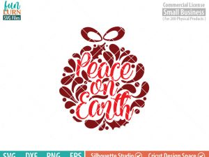 Peace on Earth svg, glass block Ornament, Christmas SVG, leaf, leaves, swirl, dxf, eps png for silhouette cameo, cricut air etc