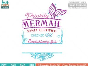 Santa bag Design svg, Christmas SVG, Mermaid Mail SVG, Mermail, Luxury Santa bag svg png dxf eps for Silhouette Cameo, Cricut Air