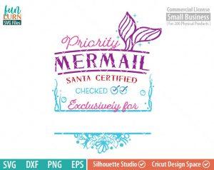 Santa bag Design svg, Christmas SVG, Mermaid Mail SVG, Mermail, Luxury Santa bag svg png dxf eps for Silhouette Cameo, Cricut Air