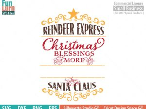 Santa Bag Design svg, Christmas SVG, Special Delivery, Reindeer Express, Luxury Santa bag svg png dxf eps , Cameo file, cricut file