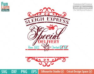 Santa bag Design svg, Christmas SVG, Special Delivery, Sleigh Express, Luxury Santa bag svg png dxf eps for Silhouette Cameo, Cricut Air