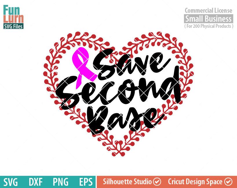 Save Second Base Svg Baseball Breast Cancer Awareness Svg Funlurn