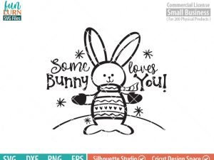 Some bunny loves you SVG, cute bunny, rabbit, Snow, Winter woodland creatures, sweater, mittens, snowflakes SVG DXF eps png