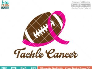 Tackle Cancer SVG, Breast Cancer Awareness, Support, Ribbon, Pink, Cancer, Survivor, Fighter,Football svg png dxf eps, cameo, cricut files