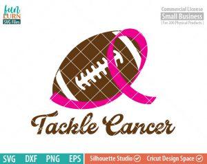 Tackle Cancer SVG, Breast Cancer Awareness, Support, Ribbon, Pink, Cancer, Survivor, Fighter,Football svg png dxf eps, cameo, cricut files
