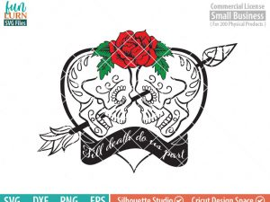 Till death do us part SVG, Halloween Wedding, Gothic Wedding, Skull heart, red rose, Dia de los Muertos, Day of the dead, SVG png dxf eps