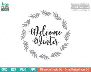 Welcome Winter Wreath SVG