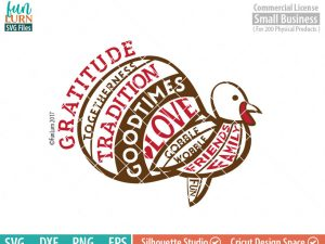 Turkey Word art, Gratitude, Tradition, Family, Friends, Happy Thanksgiving svg, Autumn, Thanksgiving SVG, dxf, eps png