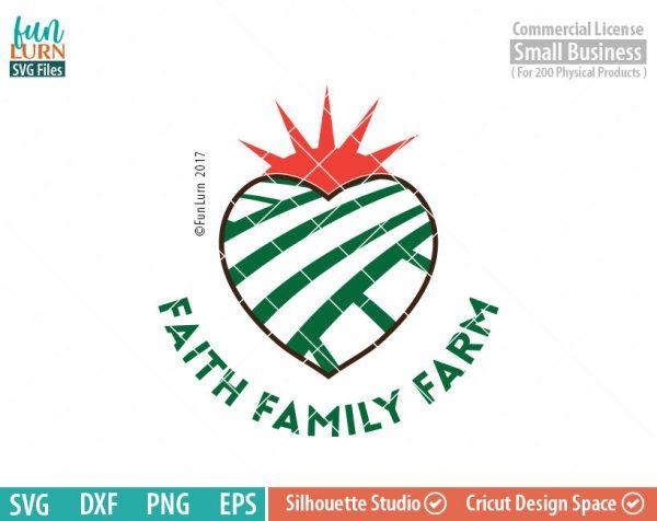 Faith Family Farm SVG, Christian, Heart, Jesus, farm, life, southern living, svg png dxf eps for Silhouette Cameo cricut etc