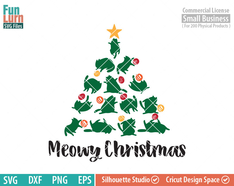 ... Cat Christmas Tree Svg. Animals ...