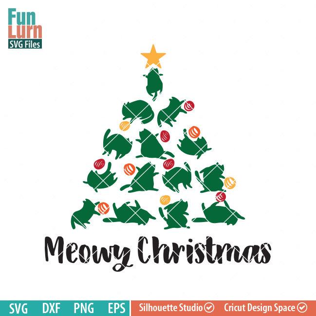 Nurse Christmas Svg.Cat Christmas Tree Svg