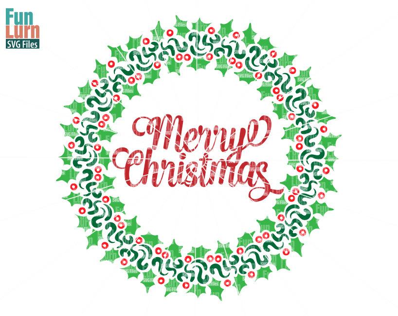Merry Christmas Word Art Png.Merry Christmas Wreath Svg