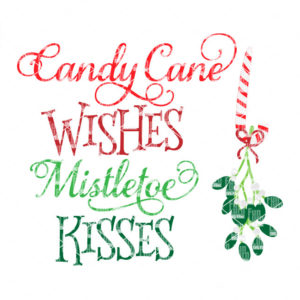Candy Cane Wishes Mistletoe kisses svg