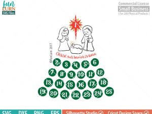 Nativity Advent Calendar, Cute Days until Christmas svg, Christian, Our savior is born,  svg png dxf eps for Cameo, Cricut Air etc
