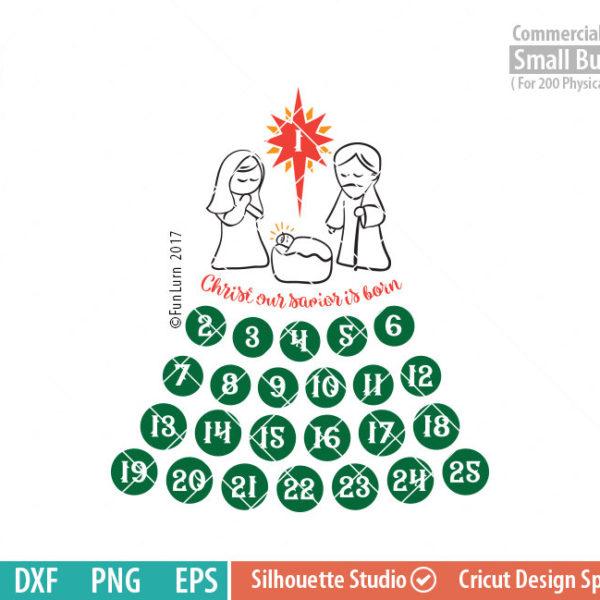 Nativity Advent Calendar, Cute Days until Christmas svg, Christian, Our savior is born,  svg png dxf eps for Cameo, Cricut Air etc
