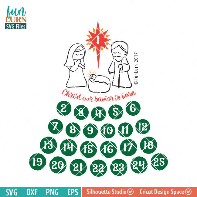 Days Until Christmas Svg Free.Cute Nativity Advent Calendar