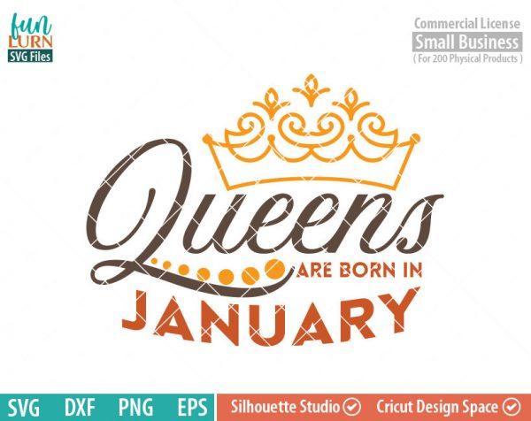Queens are born in January svg, January Birthday svg, Black , Birthday Girl, Birthday Princess with Crown, adult birthday, svg DXF EPS PNG