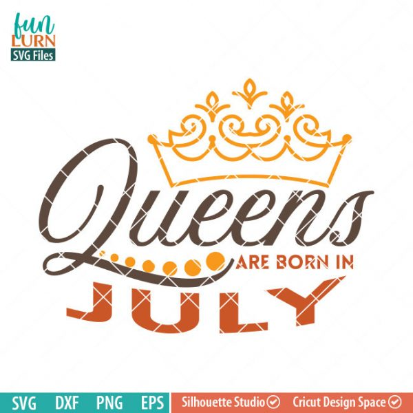 Queens are born in July svg, July Birthday svg, Black , Birthday Girl, Birthday Princess with Crown, adult birthday, svg DXF EPS PNG