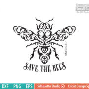 Save the bees SVG, Honeybee tattoo, Tribal art, svg png dxf eps