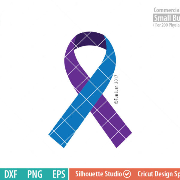 Suicide Awareness Ribbon, 3 colors , Awareness Ribbon svg, Suicide Prevention, teal, Purple, svg png dxf eps