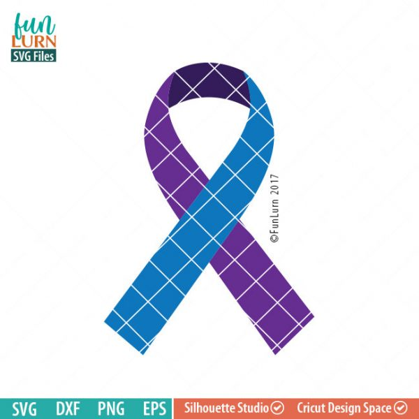 Suicide Awareness Ribbon, 3 colors , Awareness Ribbon svg, Suicide Prevention, teal, Purple, svg png dxf eps