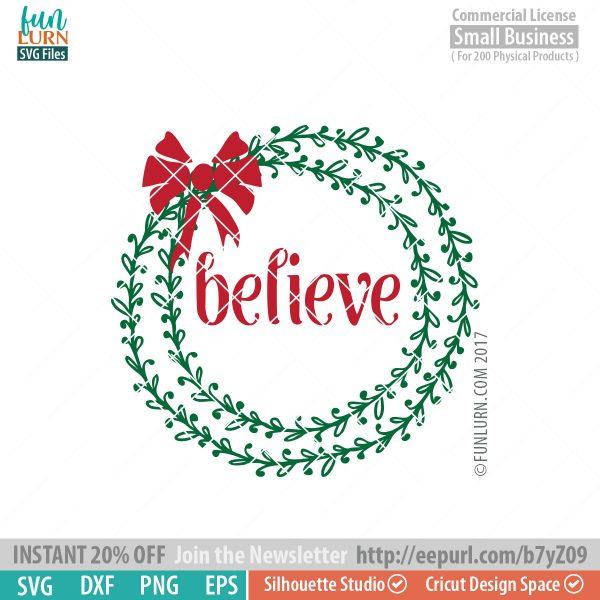 Believe Wreath SVG