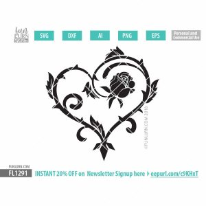 Gothic Rose vine heart SVG