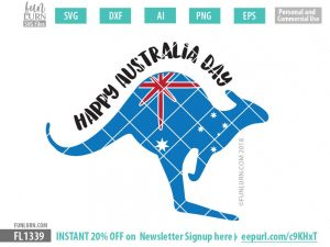 Kangaroo Happy Australia Day SVG
